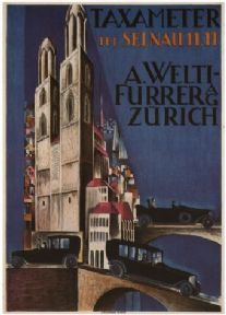 Vintage Swiss travel poster - Taximeter (1923)